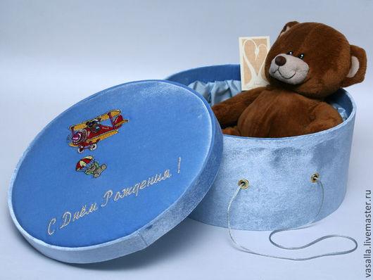 Подарочная упаковка ручной работы. Ярмарка Мастеров - ручная работа. Купить Подарочная коробка для мальчика. Handmade. Голубой, рисунок