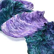 Аксессуары ручной работы. Ярмарка Мастеров - ручная работа шарфик шёлковый изумрудный с сиреневым женский шёлковый шарф. Handmade.
