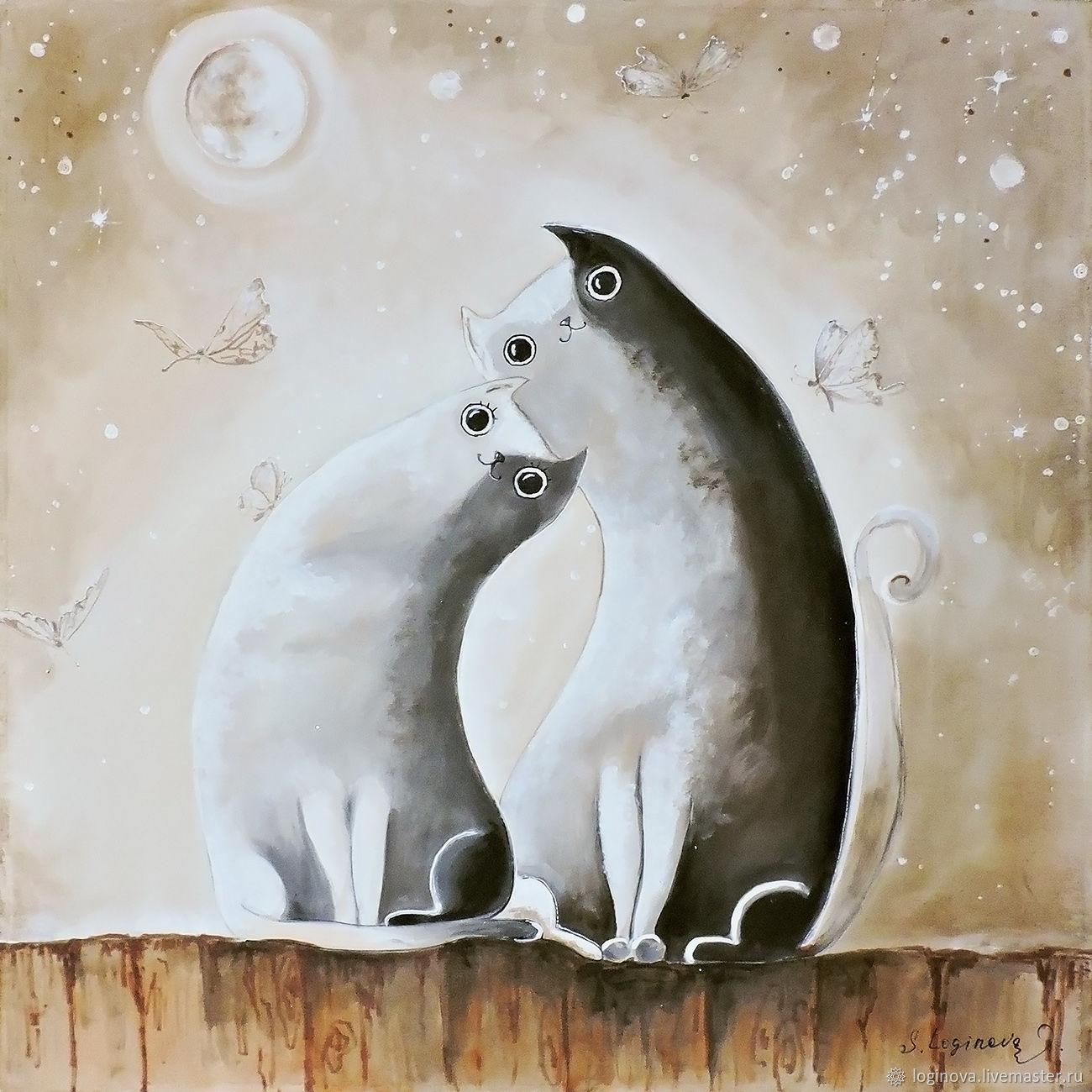 Картина с котами, влюбленные коты, картина на шелке, Картины, Находка,  Фото №1