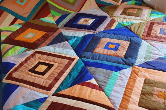 """Текстиль, ковры ручной работы. Ярмарка Мастеров - ручная работа. Купить Лоскутное покрывало """"Бирюзовый танец"""" № 465. Handmade."""