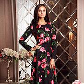 Одежда ручной работы. Ярмарка Мастеров - ручная работа Длинное нарядное платье в пол. Цветочное платье на осень. Handmade.