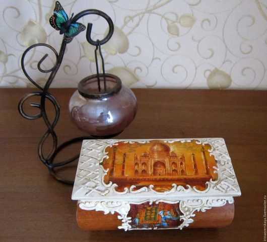 """Шкатулки ручной работы. Ярмарка Мастеров - ручная работа. Купить Шкатулка """"Жаркая Индия"""". Handmade. Оранжевый, слон, шкатулка для мелочей"""
