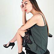 Одежда ручной работы. Ярмарка Мастеров - ручная работа Платье-комбинация из тонкой шерсти в цвете хаки с отделкой кружевом. Handmade.