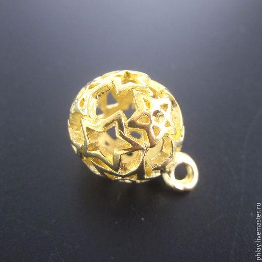 Для украшений ручной работы. Ярмарка Мастеров - ручная работа. Купить (Распродажа) Звездный шар 22х16мм. Handmade. Золотой