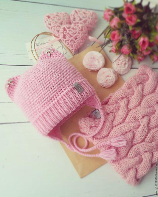 """Шапки и шарфы ручной работы. Ярмарка Мастеров - ручная работа. Купить Комплект """"Pink Cat"""" шапка с ушками, снуд. Handmade."""