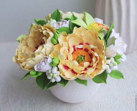 Букеты ручной работы. Ярмарка Мастеров - ручная работа. Купить Букет пионы с орхидеями. Handmade. Разноцветный, букет из полимерной глины
