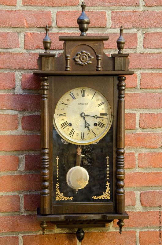 Винтажные предметы интерьера. Ярмарка Мастеров - ручная работа. Купить Часы настенные деревянные Concordia с боем завод механизма на 31 день. Handmade.