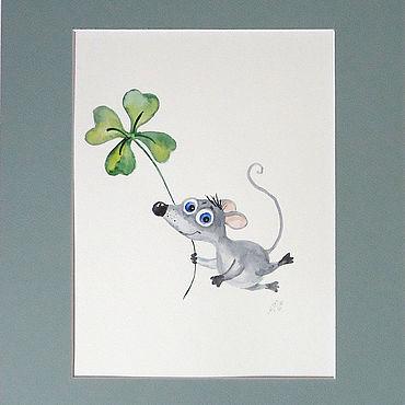 Картины и панно ручной работы. Ярмарка Мастеров - ручная работа Картины: Акварельный мышонок. Handmade.