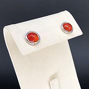 Украшения handmade. Livemaster - original item Mini earrings with carnelian, 925 silver with white gold. Art.162. Handmade.