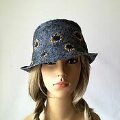 Аксессуары handmade. Livemaster - original item Hat Panama salt and pepper felted with perforation, Boho. Handmade.
