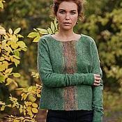 """Одежда ручной работы. Ярмарка Мастеров - ручная работа Зеленый свитер """"Рассвет над деревьями"""". Handmade."""