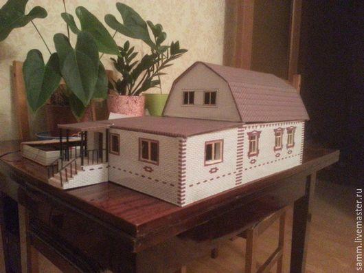 Миниатюрные модели ручной работы. Ярмарка Мастеров - ручная работа. Купить Макет дачного дома. Handmade. Макет, картон, миниатюра