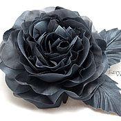 Украшения ручной работы. Ярмарка Мастеров - ручная работа Роза из шёлка тёмно-серая. Handmade.