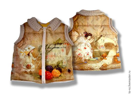 """Одежда для девочек, ручной работы. Ярмарка Мастеров - ручная работа. Купить Детская безрукавка с вязаными мотивами """"Феечки"""". Handmade. Комбинированный"""