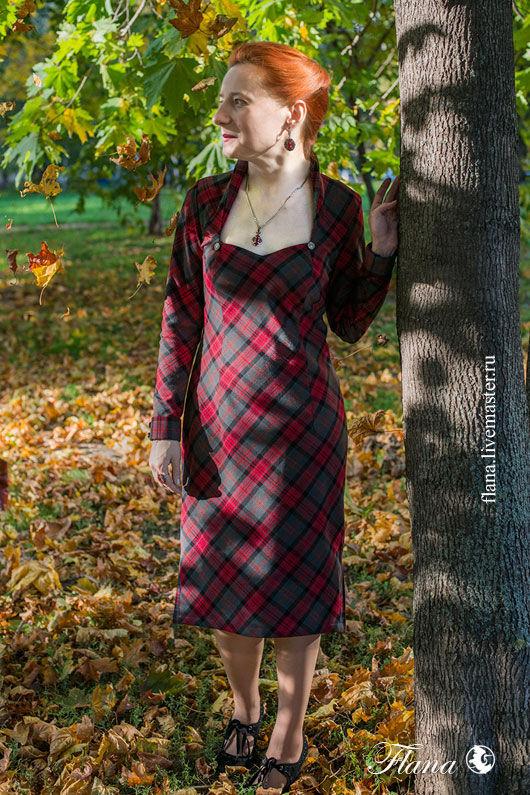 Платье `Шотландская клетка`. Индивидуальный пошив, Флана