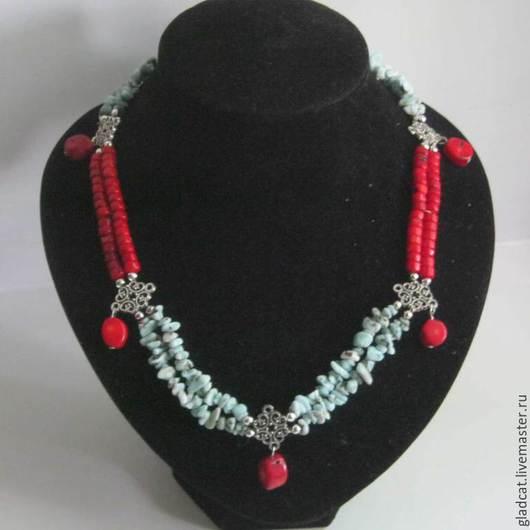 Колье, бусы ручной работы. Ярмарка Мастеров - ручная работа. Купить Ожерелье из ларимара и коралла. Handmade. Разноцветный, ларимар натуральный