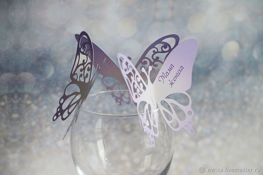 Place cards 'Butterflies colored', Card, Moscow,  Фото №1