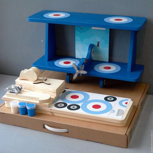"""Детская ручной работы. Ярмарка Мастеров - ручная работа. Купить Полка для книг """"Самолёт"""" (набор с красками и наклейками) 60см синий. Handmade."""