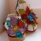 Работы для детей, ручной работы. Ярмарка Мастеров - ручная работа Детские кожаные босоножки Луговые цветы. Handmade.