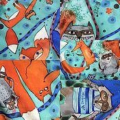 """Аксессуары ручной работы. Ярмарка Мастеров - ручная работа Косынка """"Лисы против Енотов"""" батик. Handmade."""