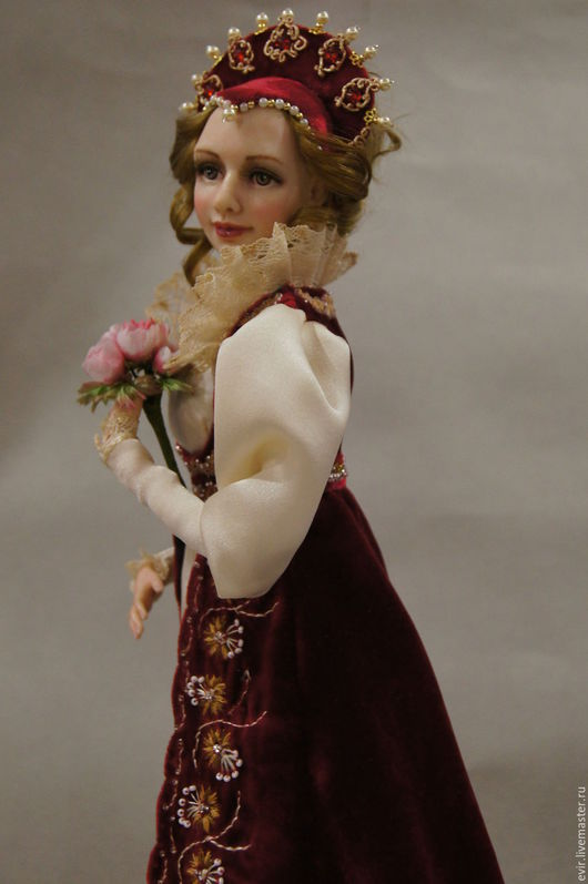 """Коллекционные куклы ручной работы. Ярмарка Мастеров - ручная работа. Купить """"Царская особа"""". Handmade. Фимо, Вышивка гладью"""