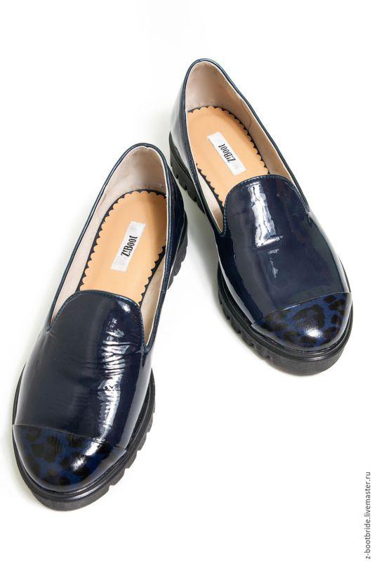Обувь ручной работы. Ярмарка Мастеров - ручная работа. Купить Лоферы  Laquer. Handmade. Тёмно-синий, натуральная кожа