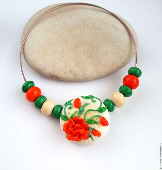 """Для украшений ручной работы. Ярмарка Мастеров - ручная работа. Купить """"Оранжевая роза"""" бусины лэмпворк, стекло, авторский lampwork. Handmade."""
