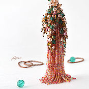 Украшения handmade. Livemaster - original item Rose garden at sunset - a necklace with a bead brush. Handmade.