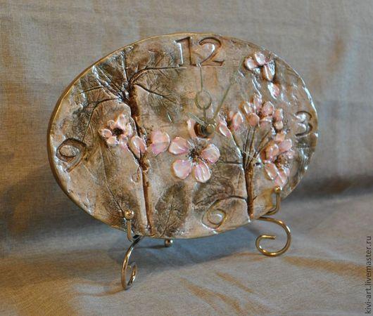 """Часы для дома ручной работы. Ярмарка Мастеров - ручная работа. Купить Часы """"Модерн"""". Handmade. Часы, дерево, розовый, оливковый"""