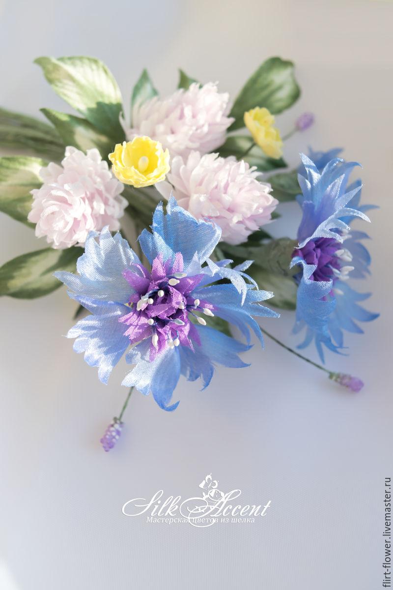Brooch Bouquet Wild Flowers Of Cornflower And Cloverlk Flowers