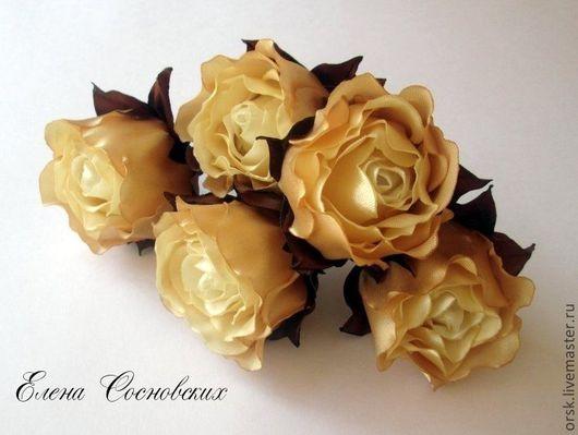 """Заколки ручной работы. Ярмарка Мастеров - ручная работа. Купить """"Карамель и шоколад"""" Роза на шпильке. Handmade. Бежевый, шпильки с розами"""
