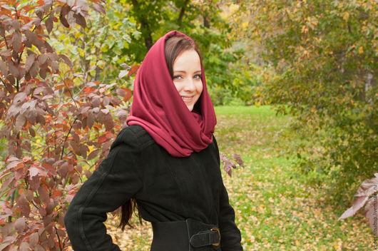 """Шали, палантины ручной работы. Ярмарка Мастеров - ручная работа. Купить Снуд """"Марсала"""". Handmade. Бордовый, шарф, подарок для женщины"""