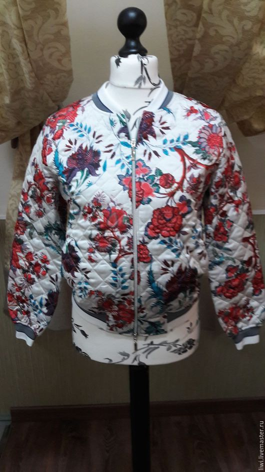 Пиджаки, жакеты ручной работы. Ярмарка Мастеров - ручная работа. Купить Бомбер. Handmade. Цветочный, стеганая куртка
