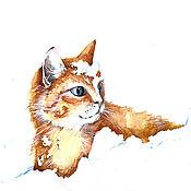 """Картины и панно ручной работы. Ярмарка Мастеров - ручная работа Акварель """"Снегокот"""". Handmade."""