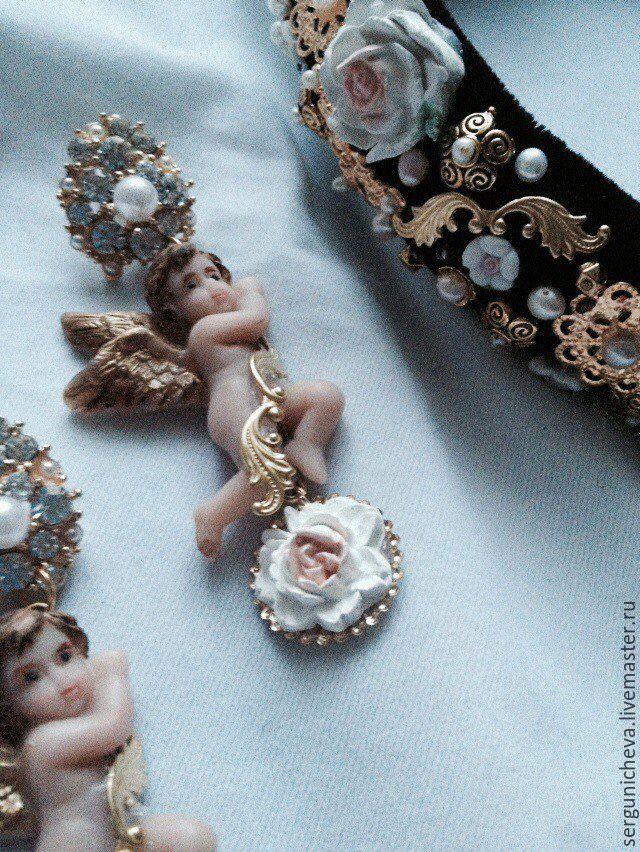 """Диадемы, обручи ручной работы. Ярмарка Мастеров - ручная работа. Купить Комплект""""Рождественские Ангелы""""в стиле DG. Handmade. Ангелочки, барокко"""