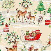 Материалы для творчества ручной работы. Ярмарка Мастеров - ручная работа Ткань Traditional Metallic Christmas Scenic Multi Makower UK. Handmade.