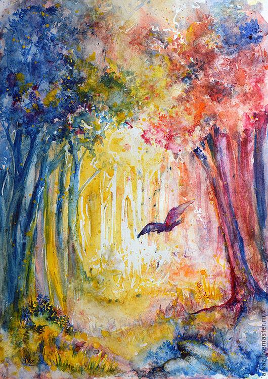 Пейзаж ручной работы. Ярмарка Мастеров - ручная работа. Купить Лес. Handmade. Лес, акварель, птица, полет, цвет, яркость