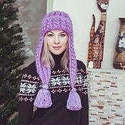 """Аксессуары handmade. Livemaster - original item Knitted hat with ears """"lilac winter"""". Handmade."""