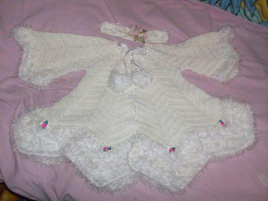 Для новорожденных, ручной работы. Ярмарка Мастеров - ручная работа. Купить белое платье с диадемой. Handmade. Акрил