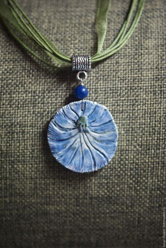 Кулоны, подвески ручной работы. Ярмарка Мастеров - ручная работа. Купить Кулон керамический Цикориевый цвет. Handmade. Синий, цветы