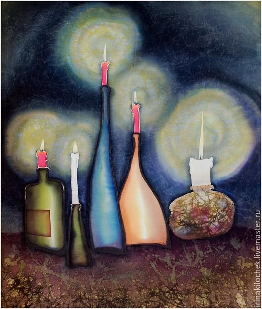 Серия картин на шелке с изображением бутылок. Чем то они все-таки на нас похожи...