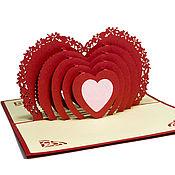 Сувениры и подарки handmade. Livemaster - original item Valentine Heart From the bottom of your heart! - 3D handmade greeting card. Handmade.