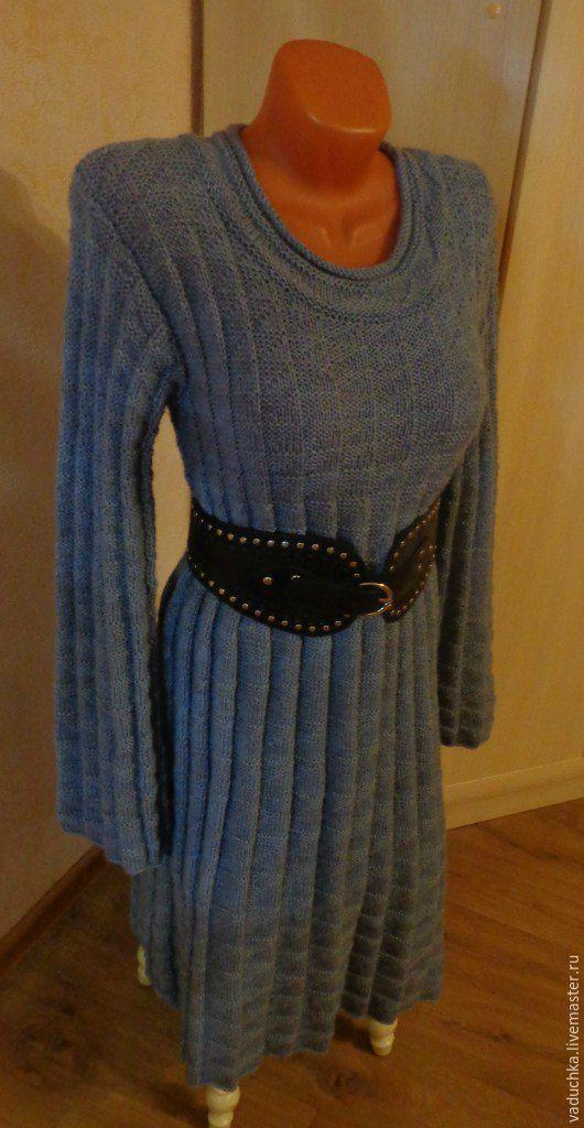 Платья ручной работы. Ярмарка Мастеров - ручная работа. Купить Платье вязаное спицами. Handmade. Голубой, вязание на заказ, вязание
