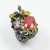 Кольца ручной работы. Ярмарка Мастеров - ручная работа Кольцо с рубином, аметистом, сапфиром и цитрином. Handmade.