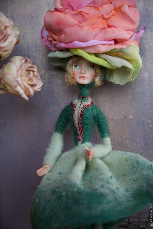 Коллекционные куклы ручной работы. Ярмарка Мастеров - ручная работа. Купить Ми. Кукла-цветок из шерсти.. Handmade. Морская волна