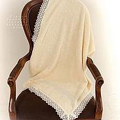 Для дома и интерьера handmade. Livemaster - original item Champagne towel with linen lace on the edge.. Handmade.