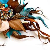 Украшения handmade. Livemaster - original item Turquoise autumn Brooch made of leather with natural stones. Handmade.