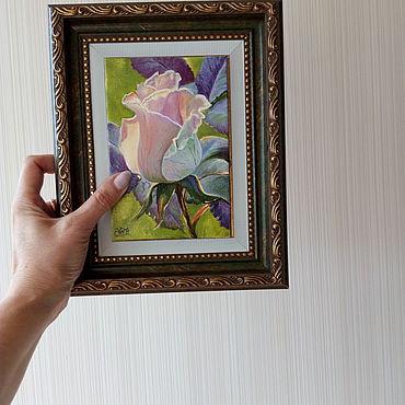 """Картины и панно ручной работы. Ярмарка Мастеров - ручная работа Картина """"Магия розы"""" миниатюра, масло, холст. Handmade."""
