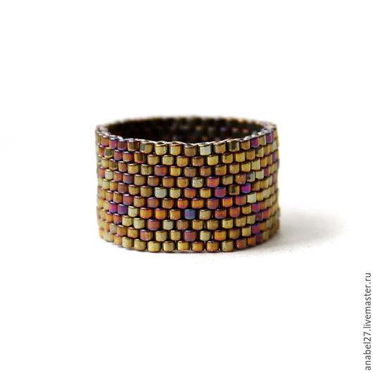 Кольца ручной работы. Ярмарка Мастеров - ручная работа. Купить Стильное широкое кольцо из бисера, женское кольцо ручной работы. Handmade.