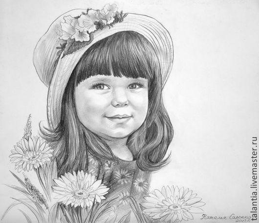 Люди, ручной работы. Ярмарка Мастеров - ручная работа. Купить Портрет девочки с цветами по фотографии.. Handmade. Чёрно-белый, с цветами